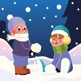 Crianças felizes com protetores de ouvido e cachecol brincando com ilustração vetorial de bola de neve