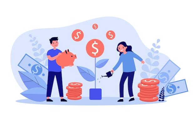 Crianças felizes crescendo árvore do dinheiro