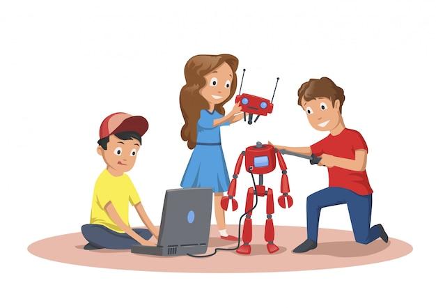 Crianças felizes, criando e programando um robô.
