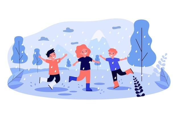 Crianças felizes curtindo a ilustração de chover