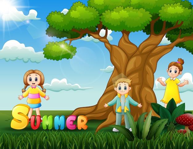 Crianças felizes curtindo o verão na ilustração do parque