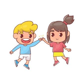 Crianças felizes dando mais cinco