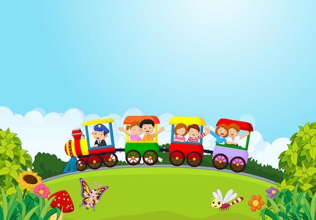 Crianças felizes de desenhos animados em um trem colorido
