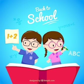 Crianças felizes de volta à escola com design plano