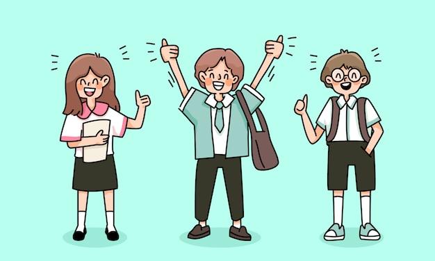 Crianças felizes de volta à escola estudam desenho ilustração