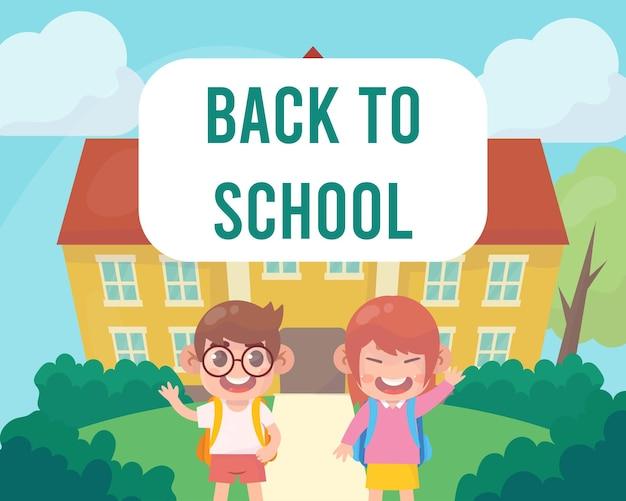 Crianças felizes de volta ao fundo da escola