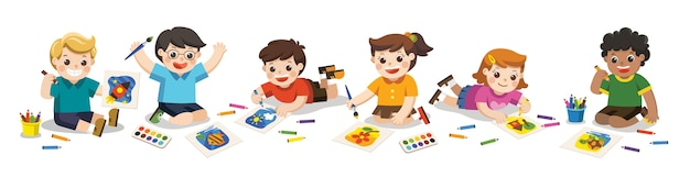 Crianças felizes desenham com lápis