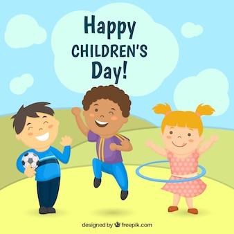 Crianças felizes do fundo do dia com as crianças brincando