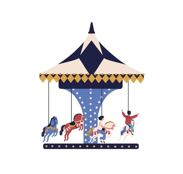 Crianças felizes dos desenhos animados andam no cavalo do carrossel, isolado no fundo branco. crianças alegres passam tempo na ilustração plana do parque de diversões. menino e menina despreocupados desfrutam de entretenimento e se divertem.