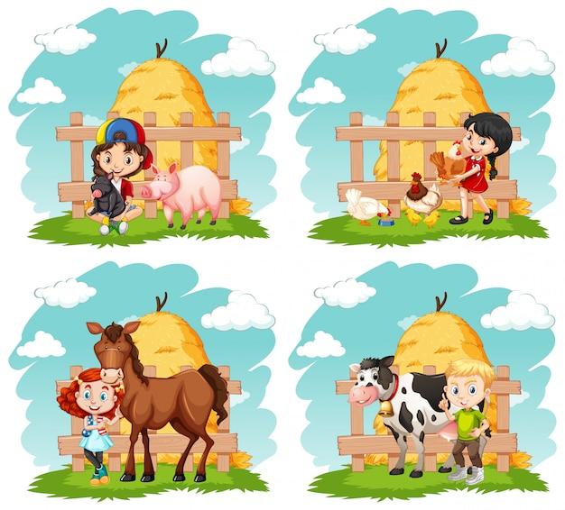 Crianças felizes e animais de fazenda na fazenda