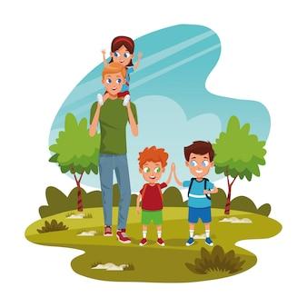 Crianças felizes e homem no parque