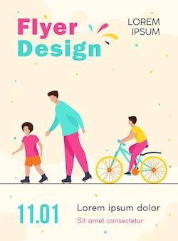 Crianças felizes e homem rolando e andando de bicicleta modelo de folheto