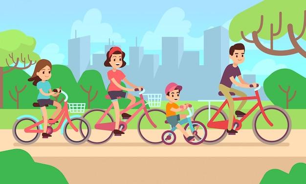 Crianças felizes e pais andando de bicicleta.