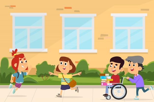Crianças felizes e uma pessoa com deficiência correm juntos para a escola.