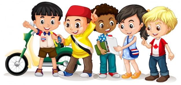 Crianças felizes em diferentes ações