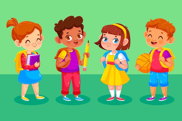 Crianças felizes em seu primeiro dia na escola
