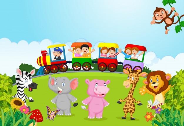 Crianças felizes em um trem colorido com animal