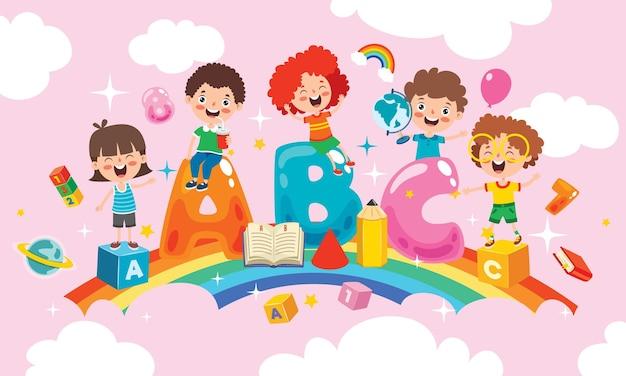 Crianças felizes, estudando e aprendendo