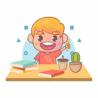 Crianças felizes estudando livros didáticos