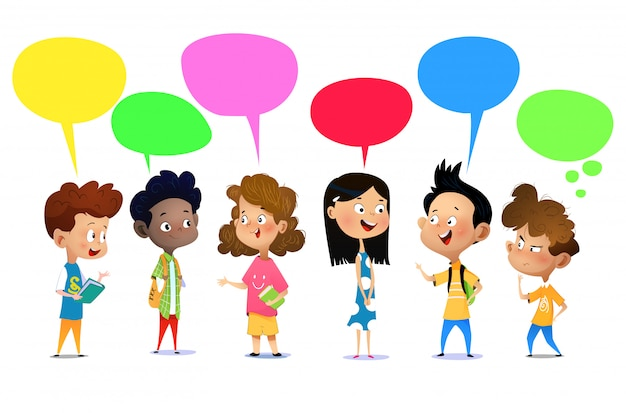 Crianças felizes falando