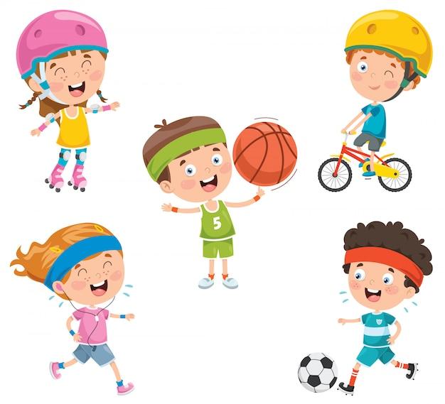 Crianças felizes fazendo esporte