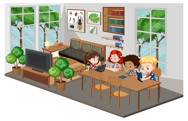 Crianças felizes fazendo lição de casa na sala de estar