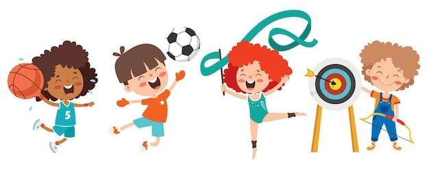 Crianças felizes fazendo vários esportes
