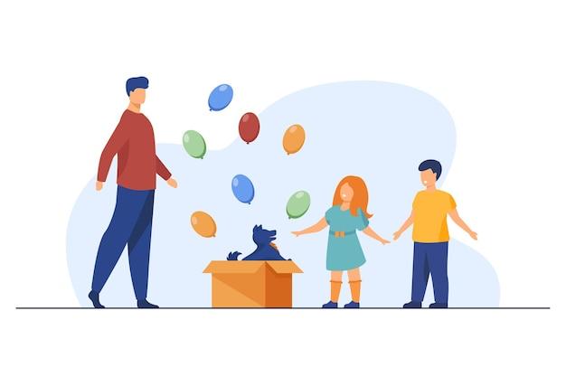 Crianças felizes ganhando cachorro como presente do pai