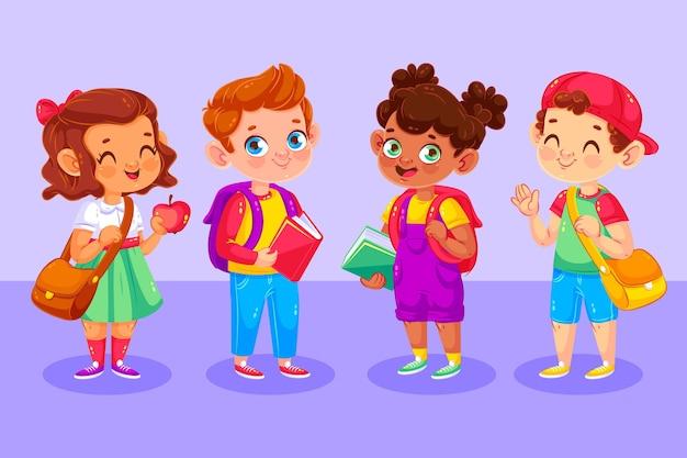 Crianças felizes ilustradas em seu primeiro dia na escola