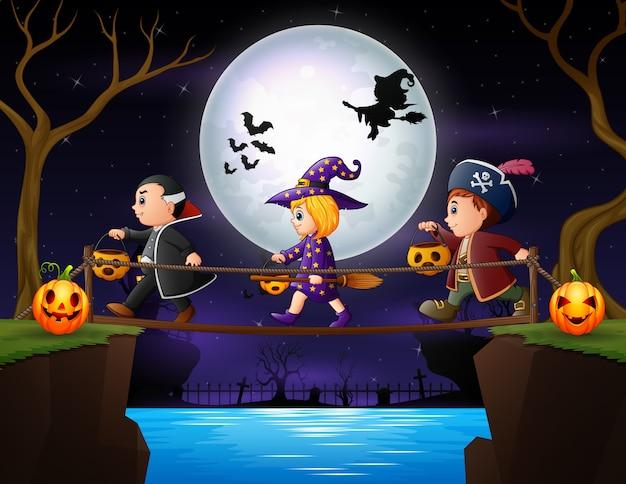 Crianças felizes indo para ilustração da festa de halloween