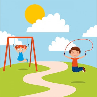 Crianças felizes jogando corda jum e bar macaco desfrutar