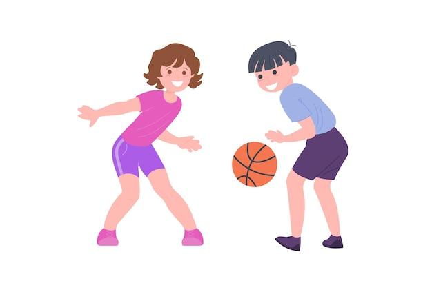 Crianças felizes jogando jogo de esporte. menino e menina fazendo exercícios físicos. crianças jogando basquete. infância saudável e ativa. ilustração em vetor plana dos desenhos animados isolada no fundo branco