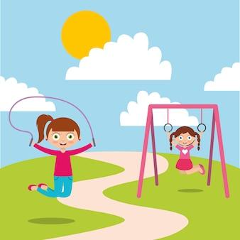 Crianças felizes jogando jum corda e bar macaco aproveitam