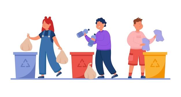 Crianças felizes jogando lixo em latas de lixo recicláveis