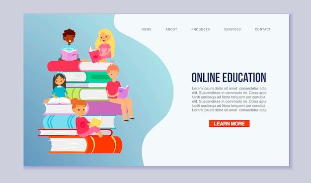 Crianças felizes, lendo livros. ilustração de conceito de biblioteca ou escola web.