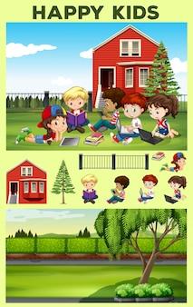 Crianças felizes lendo na ilustração do parque