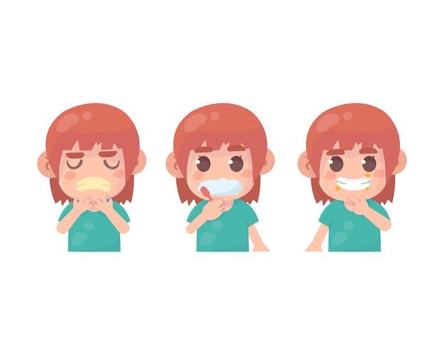 Crianças felizes limpando os dentes reduzem o mau hálito e as cáries