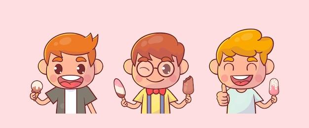Crianças felizes menino bonito com sorvete