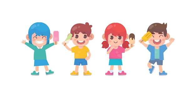 Crianças felizes, menino fofo e personagem de menina com sorvete