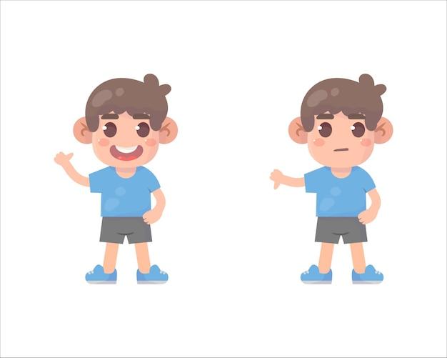 Crianças felizes mostram gesto com a mão polegar para cima e polegar para baixo