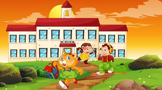 Crianças felizes na frente da ilustração do prédio da escola