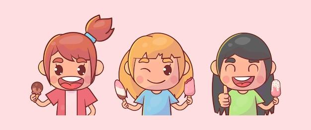Crianças felizes, personagem de menina fofa com sorvete