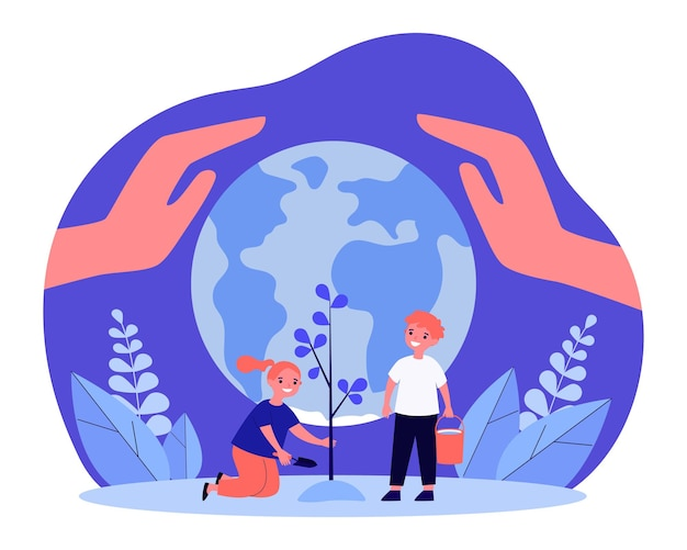 Crianças felizes, plantando árvores juntos na frente do globo. mãos gigantes protegendo a ilustração em vetor plana da terra. ecologia, reflorestamento, conceito de ambiente para banner, design de site ou página de destino