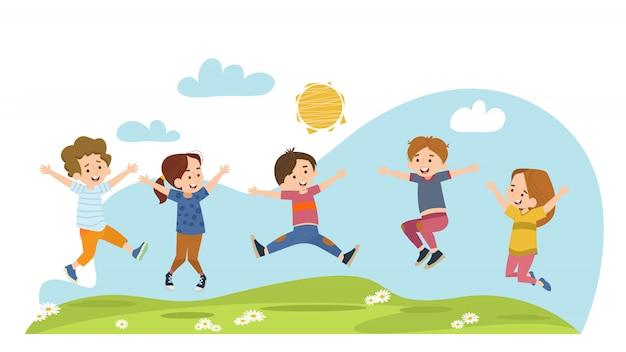 Crianças felizes pulando no prado de verão