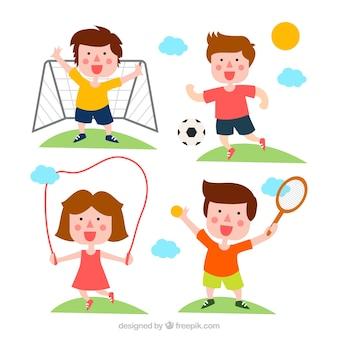 Crianças felizes que fazem esportes