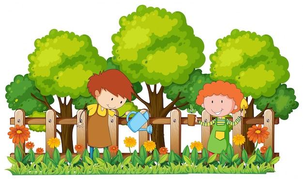 Crianças felizes regando plantas no jardim
