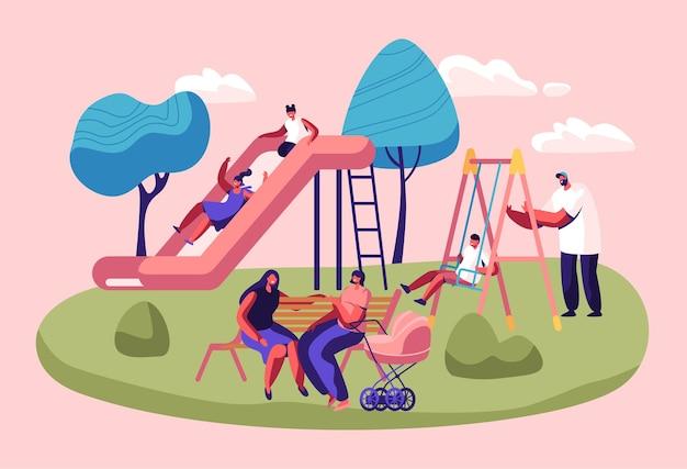 Crianças felizes, se divertindo, deslizando no playground ao ar livre.