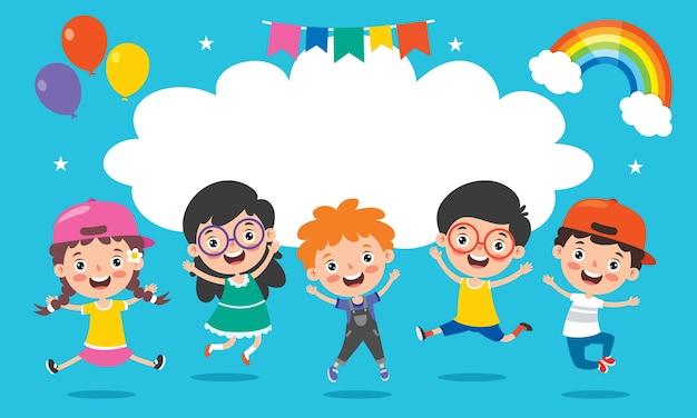 Crianças felizes se divertindo