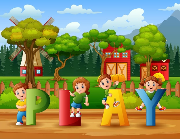 Crianças felizes segurando a palavra play na fazenda