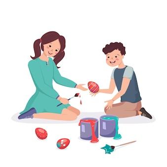 Crianças felizes sentam e pintam ovos de páscoa. menino e menina fazem decorações para o feriado. irmão e irmã brincam juntos. ilustração em vetor plana